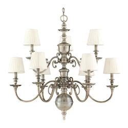 Aged Brass Nine Light Up Lighting Cast Brass Candelabra Style Chandelier with Pleated Cone Shaped Shades
