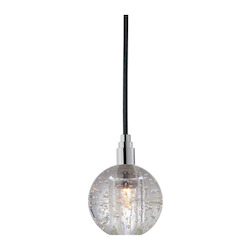 Black Cord Single Light Mini Pendant With Clear Ball Shade And 5.5 Foot Cord