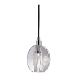 Black Cord Single Light Mini Pendant With Clear Pendant Shaped Shade And 5.5 Foot Cord