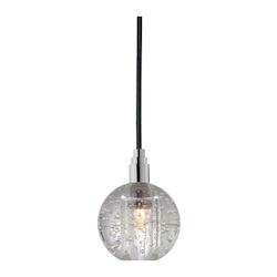 Black Cord Single Light Mini Pendant With Clear Ball Shade And 11 Foot Cord