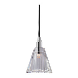 Black Cord Single Light Mini Pendant With Clear Cone Shaped Shade And 11 Foot Cord