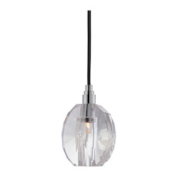 Black Cord Single Light Mini Pendant With Clear Pendant Shaped Shade And 11 Foot Cord