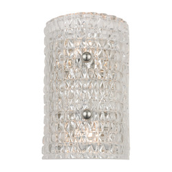 Polished Nickel Westville 2 Light Wall Sconce with Crystal Glass