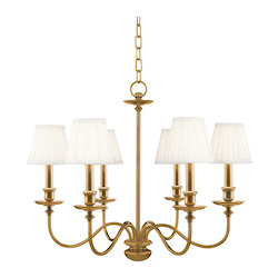 Aged Brass Six Light Chandelier from the Menlo Park Collection