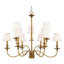 Aged Brass Nine Light Chandelier from the Menlo Park Collection