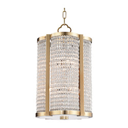 Aged Brass Ballston 8 Light Pendant with Clear Crystal Shade