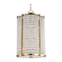 Aged Brass Ballston 12 Light Pendant With Clear Crystal Shade