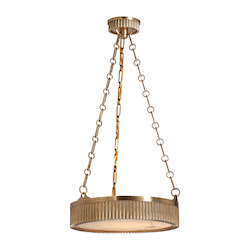 Aged Brass Four Light Brass Foyer Pendant with Alabaster Disk Shaped Shade