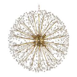 Aged Brass Dunkirk 10 Light Chandelier with Crystal Accents