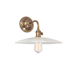 Aged Brass Single Light Wall Sconce With Round Textured Glass Shade