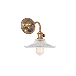 Aged Brass Heirloom 1 Light Wall Sconce With Ribbed Glass Shade