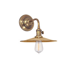 Aged Brass Single Light Wall Sconce With Shallow Round Metal Shade
