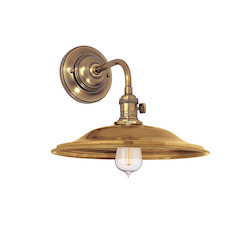 Aged Brass Single Light Wall Sconce With Shallow Round Flared Metal Shade
