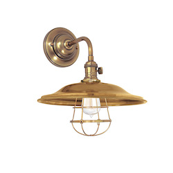 Aged Brass W/ Wire Guard Heirloom 1 Light Wall Sconce