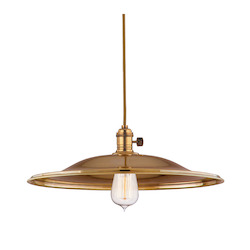 Aged Brass Single Light Pendant with 11 Foot Cloth Cord and Large Flared Round Metal Shade