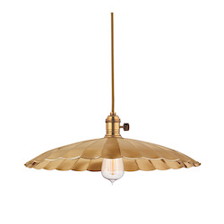 Polished Nickel Single Light Pendant with 11 Foot Cloth Cord and Large Floral Round Metal Shade