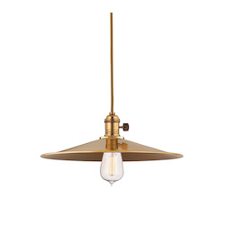 Aged Brass Single Light Pendant with 11 Foot Cloth Cord and Medium Round Metal Shade