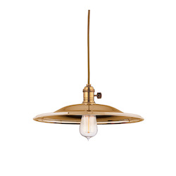 Aged Brass Single Light Pendant with 11 Foot Cloth Cord and Medium Flared Round Metal Shade