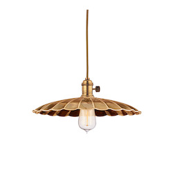 Aged Brass Single Light Pendant with 11 Foot Cloth Cord and Medium Floral Round Metal Shade