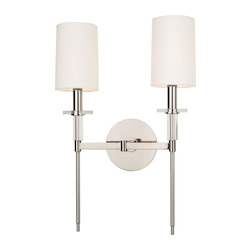 Polished Nickel Two Light Up Lighting Wallchiere Style Double Wall Sconce with Cylinder Shaped Shades