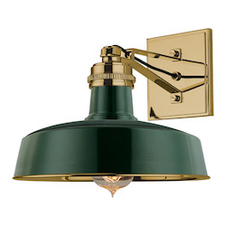 Aged Brass / Forest Green Single Light Wall Sconce with Round Metal Shade