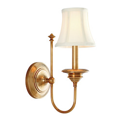 Aged Brass Yorktown 1 Light Wall Sconce with Faux Silk Shade