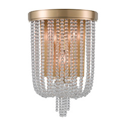 Aged Brass Royalton 3 Light Wall Sconce with Clear Crystal Shade
