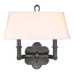 Old Bronze Two Light Up Lighting Brass Wallchiere Style Double Wall Sconce with Oval Shaped Shade