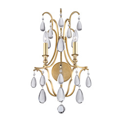 Aged Brass Crawford 2 Light Wall Sconce With Crystal Accents