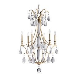 Aged Brass Crawford 6 Light Chandelier with Crystal Accents