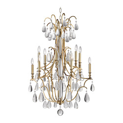 Aged Brass Crawford 12 Light Chandelier with Crystal Accents