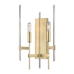Aged Brass Bari 2 Light Wall Sconce With Tungsten Filament Bulbs