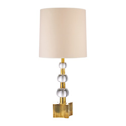 Aged Brass Concordia 2 Light Table Lamp with Crystal Accents