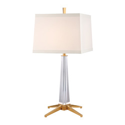Aged Brass Hindeman 1 Light Table Lamp with White Shade