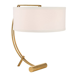 Aged Brass Deyo 2 Light Table Lamp with White Shade