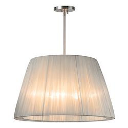 Three Light Nickel Drum Shade Pendant