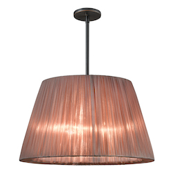 Three Light Black Drum Shade Pendant