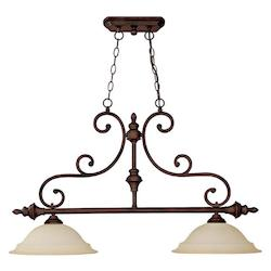 Burnished Bronze Chandler 2 Light 1 Tier Linear Chandelier