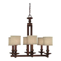 Six Light Burnished Bronze Drum Shade Island Light