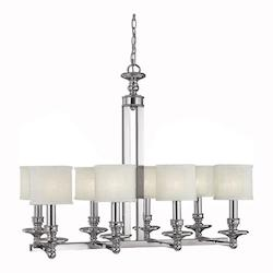 Eight Light Polished Nickel Drum Shade Chandelier