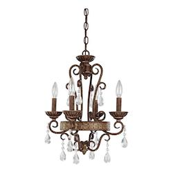 Dark Spice 4 Light 1 Tier Mini Chandelier