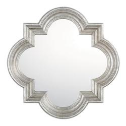 Antique Silver 34In. X 34In. Quatrefoil Shaped Mirror