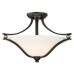 2 Light Semi Flush Mount In Castle Bronze With Aged Silver And Etched White Glas