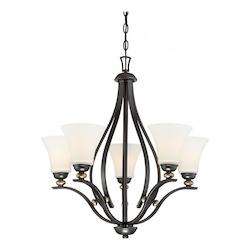 5 Light Chandelier In Castle Bronze With Aged Silver And  Etched White Glass