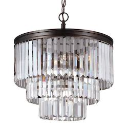 Carondelet Four Light Chandelier in Burnt Sienna with Prismatic Glass Crystal