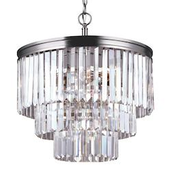 Fluorescent Carondelet Four Light Chandelier in Antique Brushed Nickel with Pris