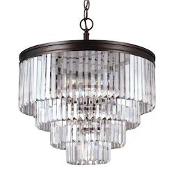 Carondelet Six Light Chandelier in Burnt Sienna with Prismatic Glass Crystal