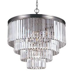 Fluorescent Carondelet Six Light Chandelier in Antique Brushed Nickel with Prism