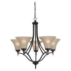 Five Light Chandelier in Burnt Sienna Finish with Cafe Tint Glass