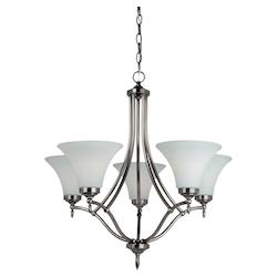 Five Light Chandelier in Antique Brushed Nickel Finish with Satin Etched Glass P